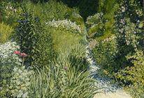 Garten, Blumen, Ölmalerei, Malerei