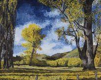 Ölmalerei, Landschaft, Leinen, Herbstwald