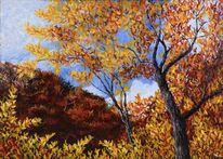 Herbst, Wald, Leinen, Ölmalerei