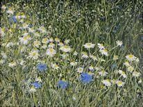 Ölmalerei, Gras, Wiese, Blumen