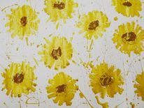 Goldfarben, Modern, Acrylmalerei, Blumen