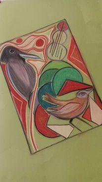 Vogel, Abstrakt, Bunt, Malerei