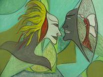 Malerei, Spiegel, Blick