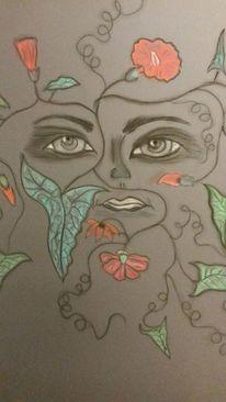 Abstrakt, Gesicht, Blumen, Augen