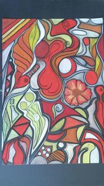 Abstrakt, Bunt, Rund, Blumen