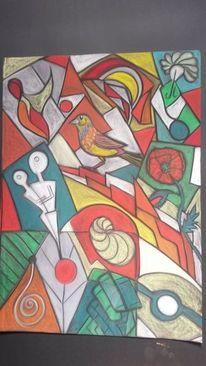 Vogel, Fantasie, Abstrakt, Blumen