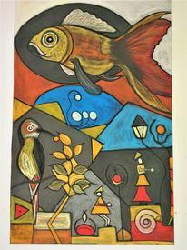 Bunt, Abstrakt, Fantasie, Fisch