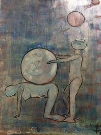 Mann, Belastung, Frau, Malerei