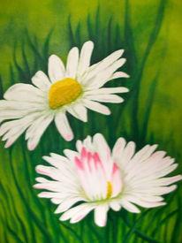 Gelb, Blumen, Kornblumen, Malerei