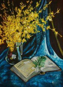 Ölmalerei, Blau, Buch, Malerei
