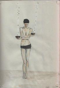 Aquarellmalerei, Buntstiftzeichnung, Skizzenbuch, Zeichnungen