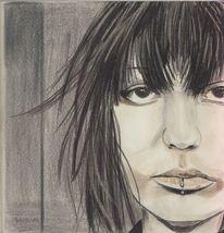 Portrait, Buntstiftzeichnung, Zeichnung, Zeichnungen