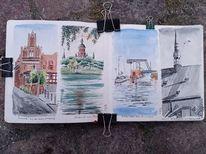 Flüssige kohle, Stralsund, Kirche, Aquarellmalerei