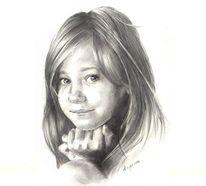 Kind, Bleistiftzeichnung, Mädchen, Gesicht