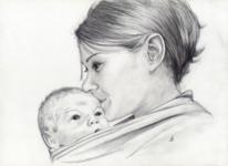 Portrait, Frau, Kind, Zeichnung