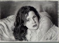Rachel hurd, Bleistiftzeichnung, Holz, Frau