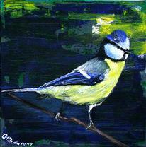 Vogel, Tiere, Pastellmalerei, Acrylmalerei