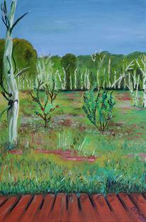 Sommer, Birken, Moor, Malerei