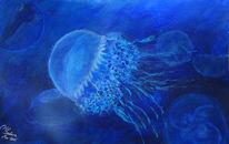 Unterwasser, Blau, Qualle, Tiere