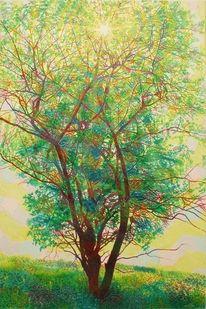 Blätter, Ölmalerei, Baum, Blumen
