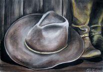 Pastellkreide cowboy, Hut, Malerei, Cowboy