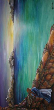 Ausblick, Malerei, Mädchen, Acrylmalerei