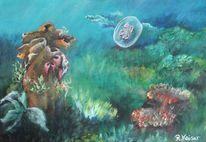 Acrylmalerei, Blau, Malerei, Unterwasser