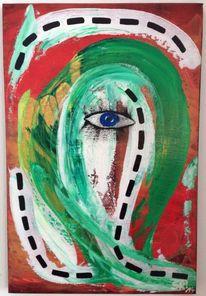 Acrylmalerei, Rot, Dame, Abbild
