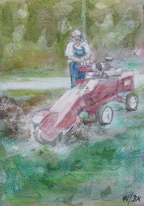 Pastellmalerei, Wurzelfräse, Wald, Kreide