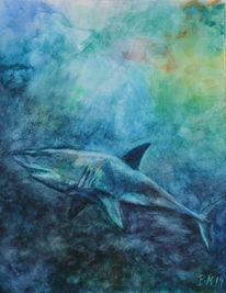 Aquarellmalerei, Weiß, Fisch, Tiefsee