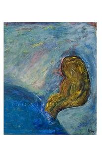 Spachtel, Abstrakt, Temperamalerei, Wasser