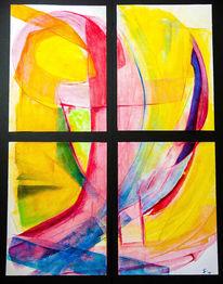 Improvisieren, Aquarellmalerei, Malerei, Abstrakt quadrat