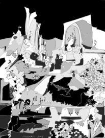 Schwarzweiß, Abstrakt, Mischtechnik, Landschaft