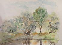 Stimmung, Aquarellmalerei, Wasser, Baum