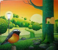 Gras, Gemälde, Sonnenuntergang, Baum
