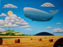 Landschaft, Stoppelfeld, Wolken, Gemälde