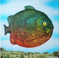 Gemälde, Surreal, Fisch, Abklatschtechnik