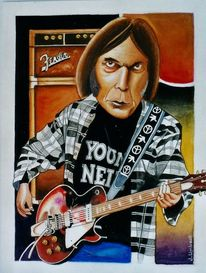 Musiker, Illustration, Neil young, Musikant