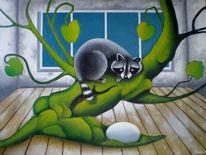 Fenster, Moos, Surreal, Baum