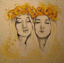 Aquarellmalerei, Freunde, Kohlezeichnung, Hippie