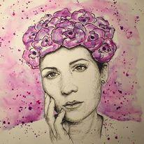 Mädchen, Frau, Kohlezeichnung, Selbstportrait