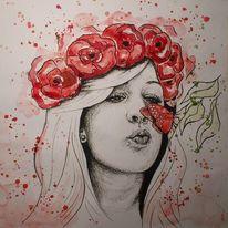 Aquarellmalerei, Kohlezeichnung, Hippie, Rot