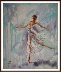 Ölmalerei, Blau, Engel, Ballett