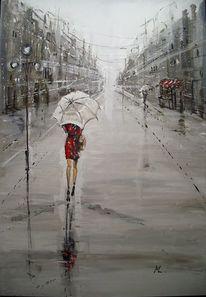 Ölmalerei, Regen, Straße, Malerei