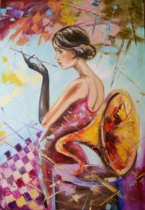 Frau, Ölmalerei, Figural, Musik