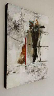 Acrylmalerei, Rot schwarz, Abstrakt, Weiß