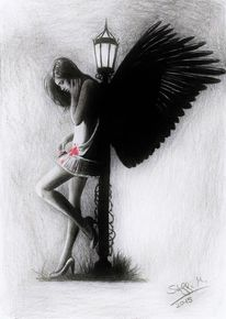 Lampe, Blut, Engel, Zeichnungen