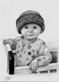Kind, Mädchen, Bleistiftzeichnung, Niedlich