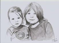 Familie, Bleistiftzeichnung, Junge, Herz