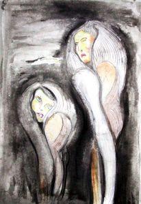 Grün, Aquarellmalerei, Frau, Zeichnung